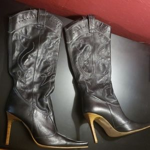 Stiletto heeled western style boots